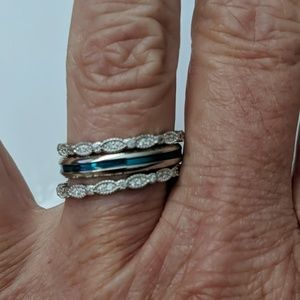 Set of 3 sterling silver stack bands